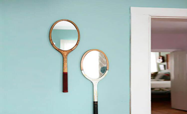 Raquetes de tênis transformadas em espelho