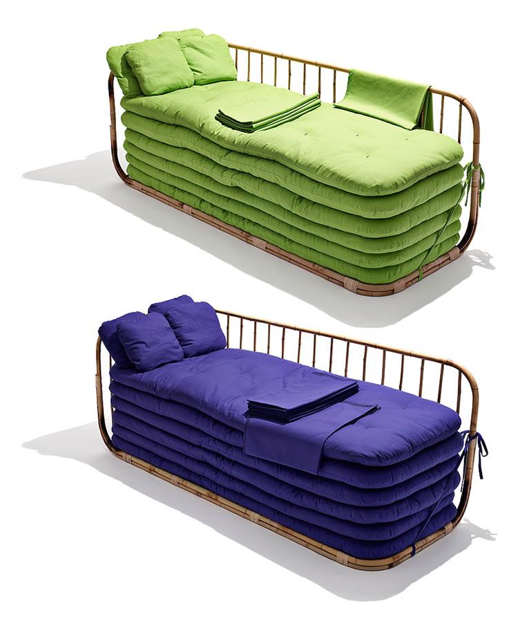 Sof cama de bambu solu o para acomodar at seis visitas - Sofa cama verde ...